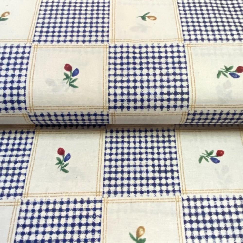 bavlna krémová modré šachovnice kostky a květy 140cm
