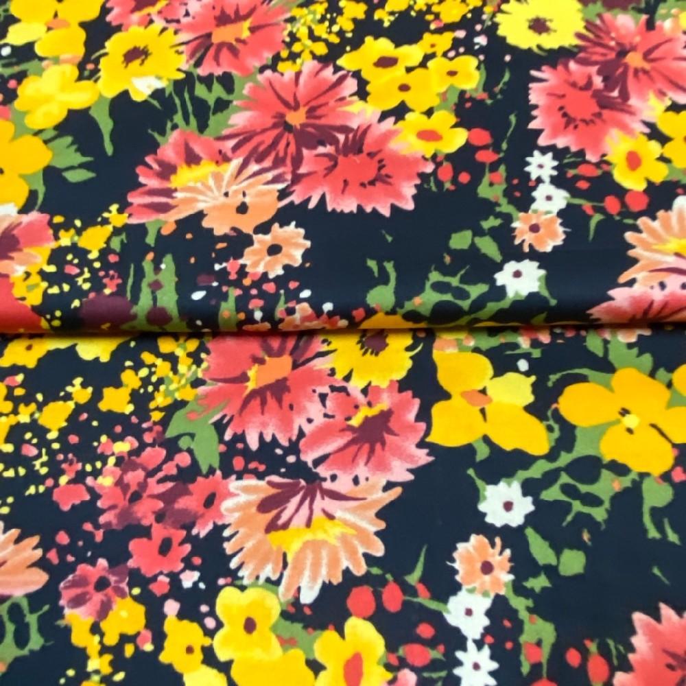 bavlna satén rozkvetlá louka žlu.růž.čer. 140