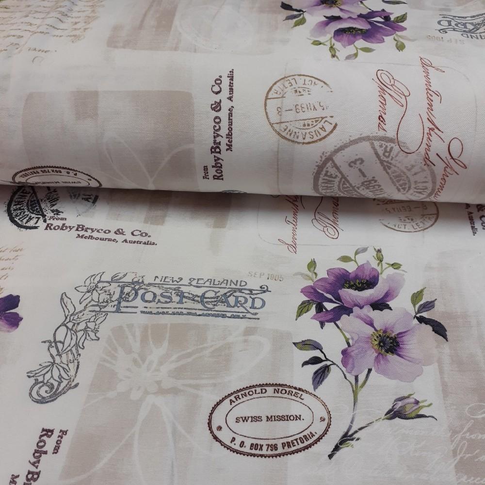 dekoračka krémová tisk fialové květy 160cm pes