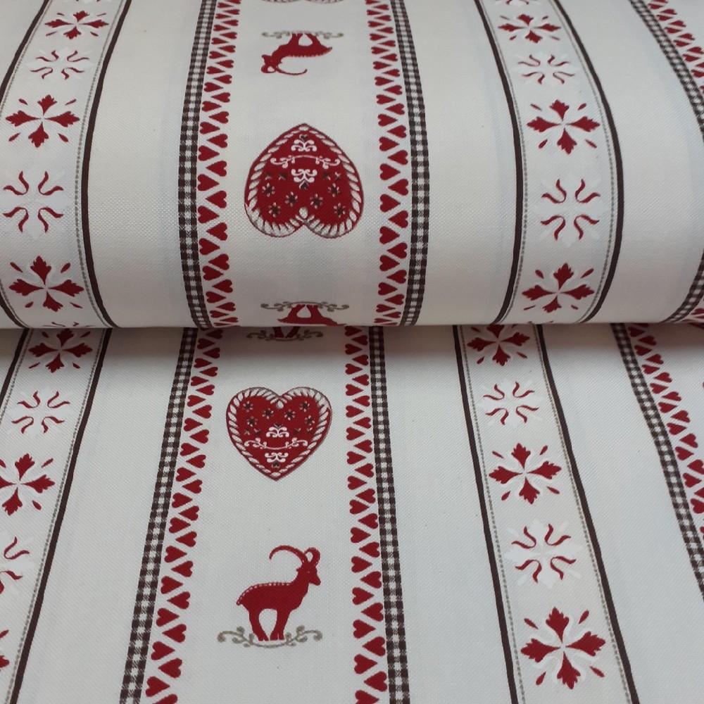 dekoračka krémová červené proužky srdce jeleni 160cm pes/ba