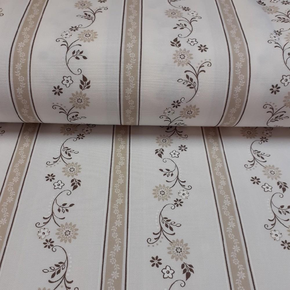 dekoračka krémová hnědo béžové proužky a kytičky160cm polyacryl
