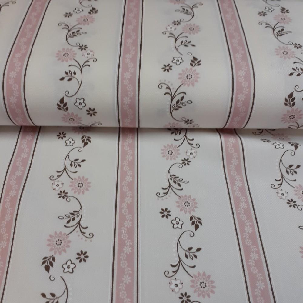 dekoračka krémová růžové proužky a kytičky 160cm polyacryl