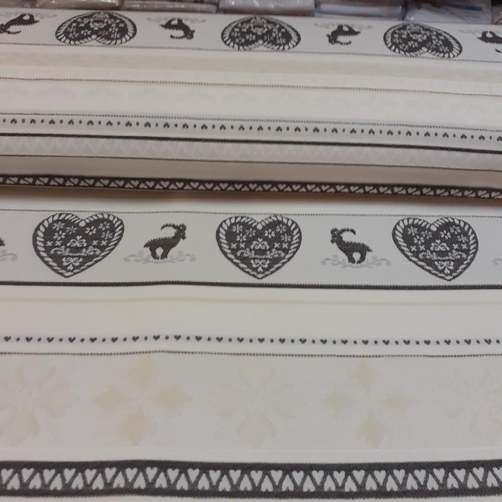 dekoračka krémová hnědé srdce jeleni 140cm pes/ba/polac