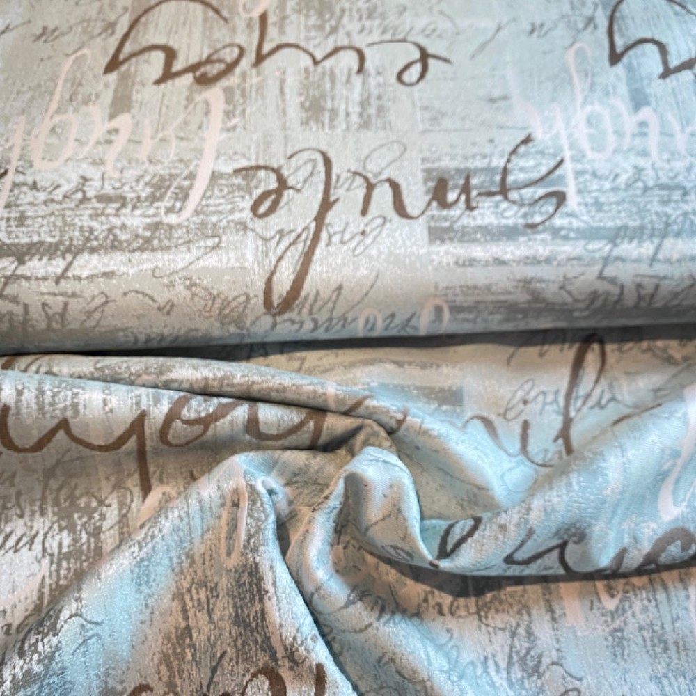 dekoračka  mocca/mentolová krém/hnědé písmo154cm pes