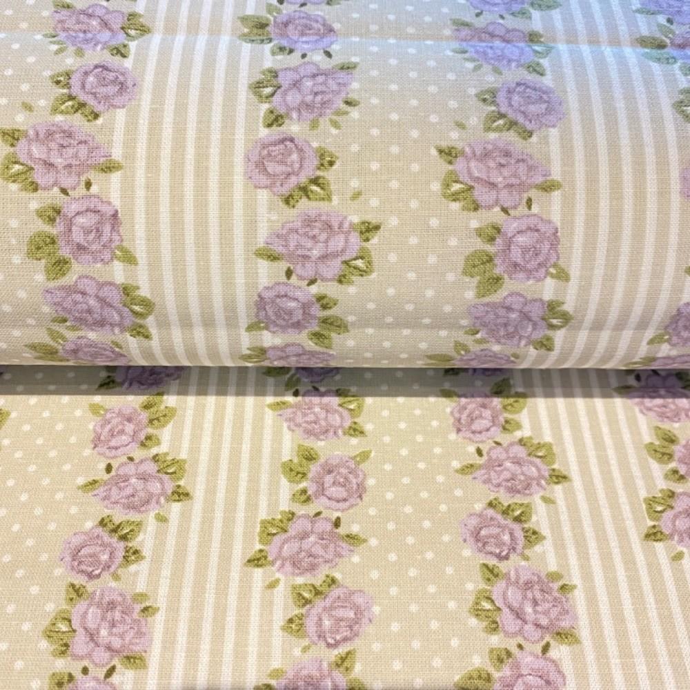 bavlna fial.růžičky  na krém.puntíky  150 cm