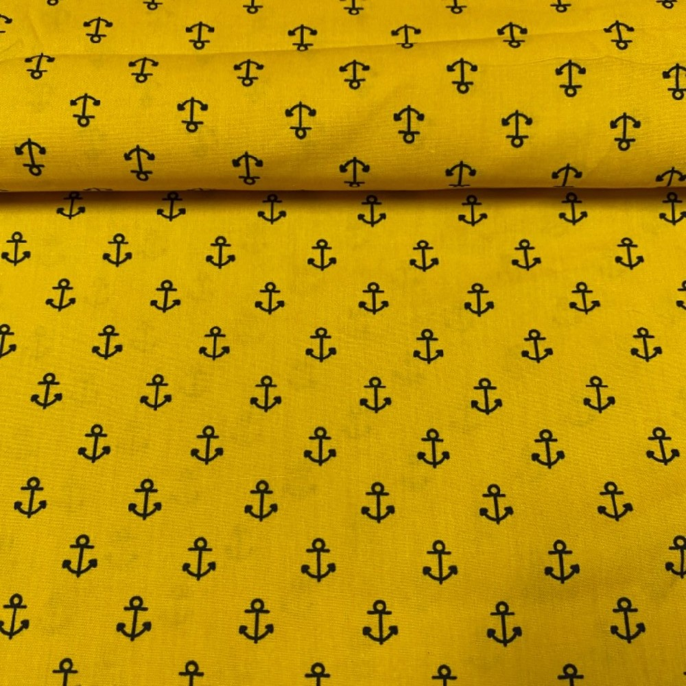 bavlna žlutá kotvičky140 cm