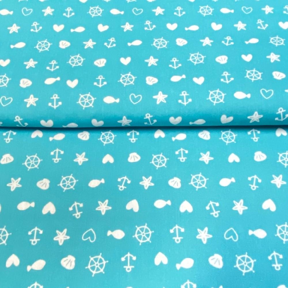 bavlna tyrkys mořský svět140 cm