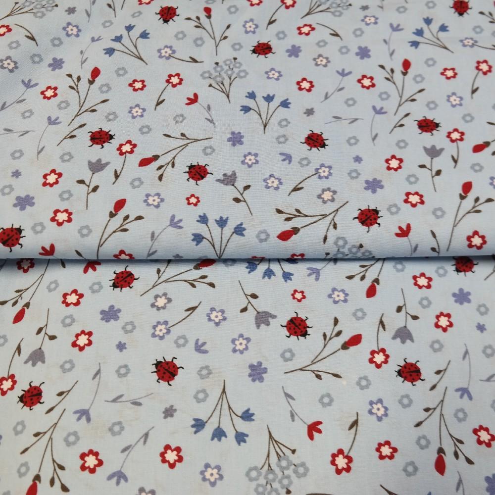 bavlna modrá berušky kytičky 140 cm