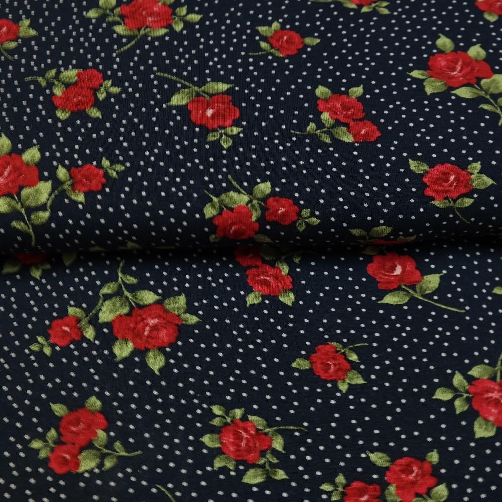 úplet tmavě modrý růžičky červené