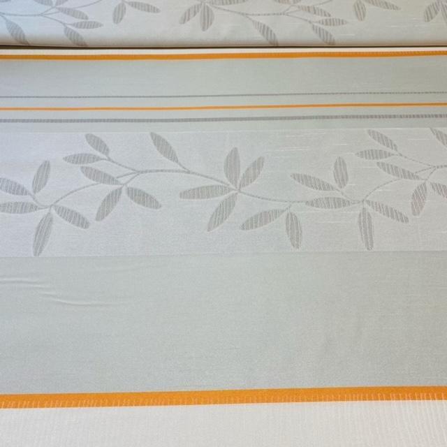 dekoračka 6406 šedooranžpruhlist š.140cm