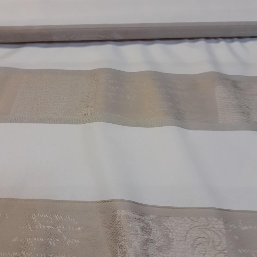 dekoračka zlato bílo šedé  pruhy 150