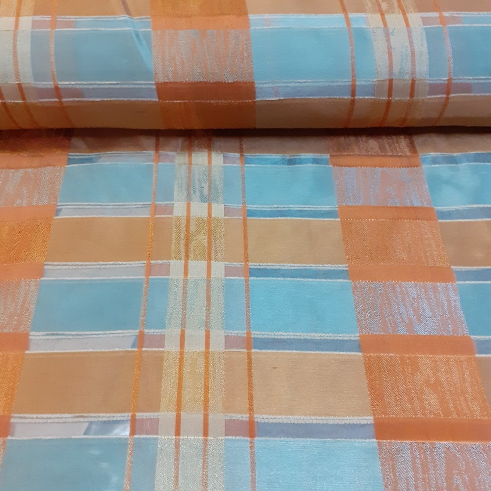 záclona messe š.140 oran.modr.kostky