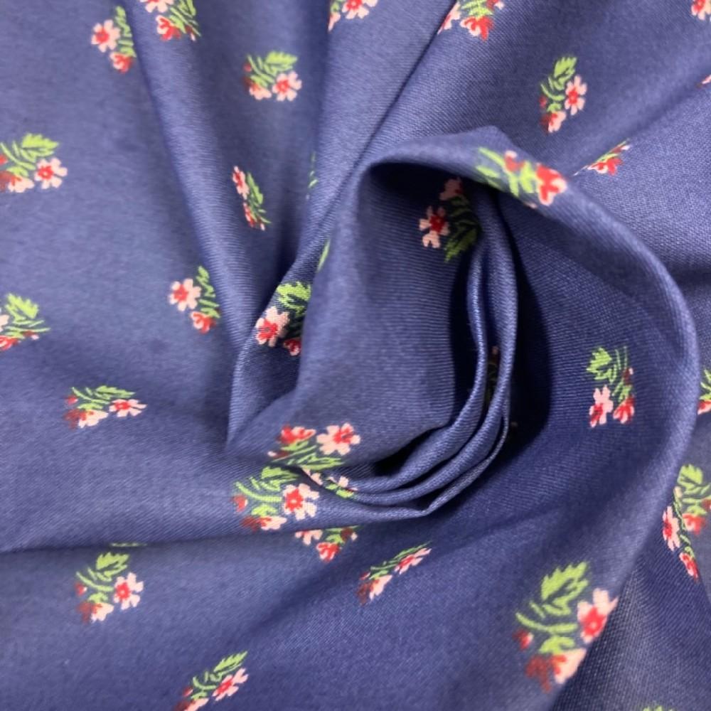 bavlna růžičky na tmavě modrém podkladě 140 cm