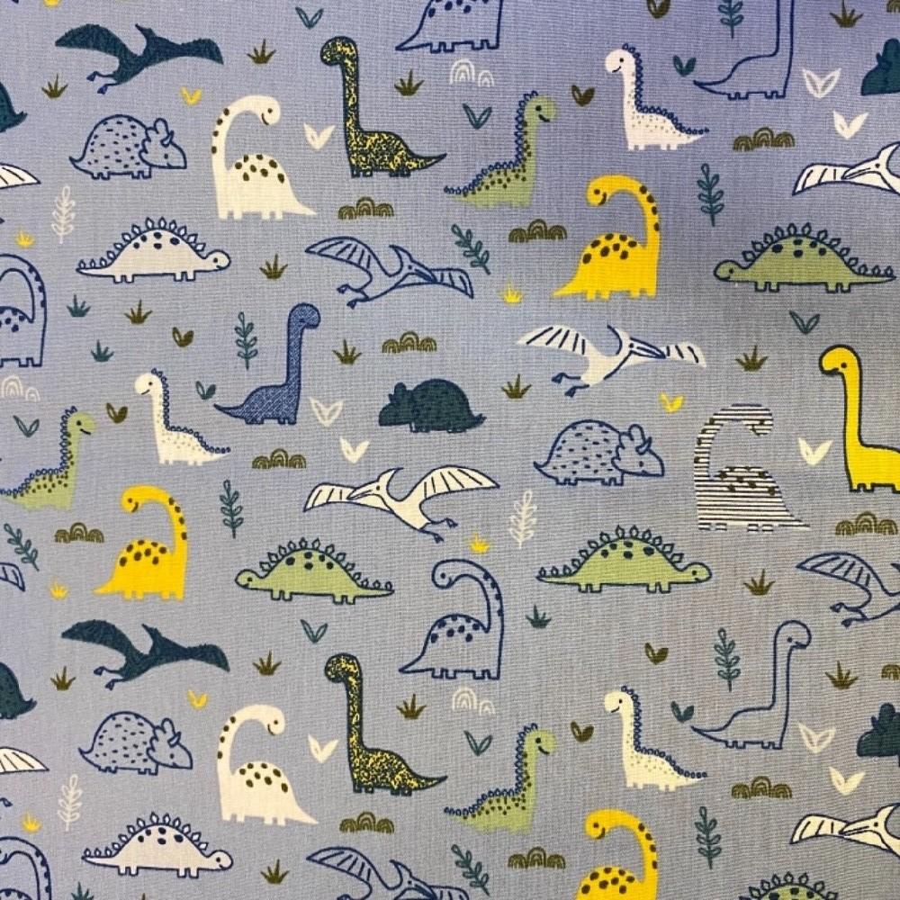 bavlna barevní dinosauři  140 cm