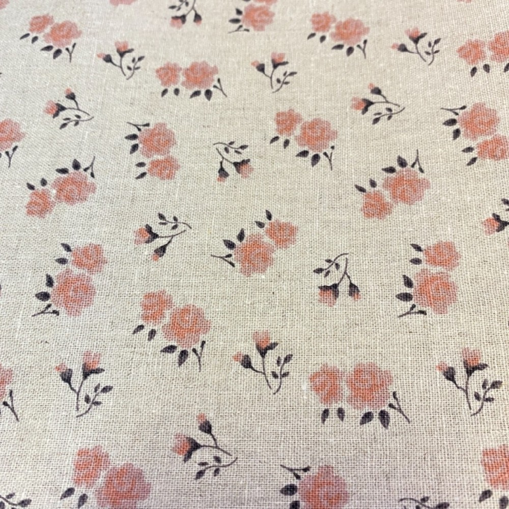 bavlna len růžové kytičky na natur