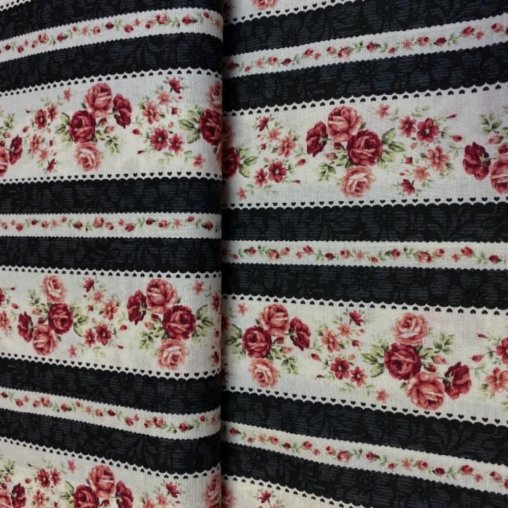 bavlna bordové růžte.černé pruhy na bílém podkladě 110