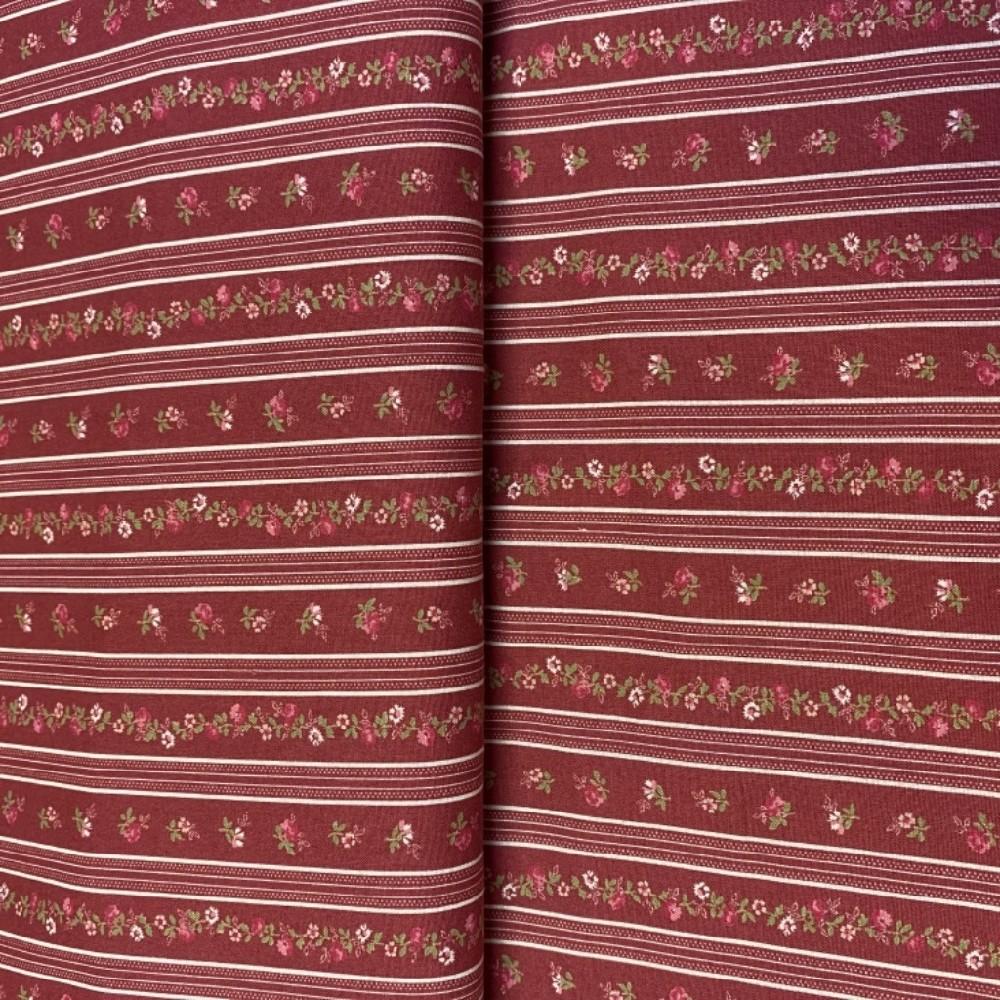 bavlna barené kytičky na bordovém podkladě pruhy 110 cm