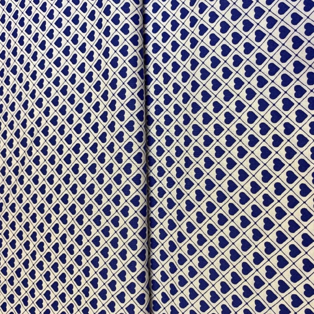 bavlna modrá srdíčka na bílém podkladě 110 cm