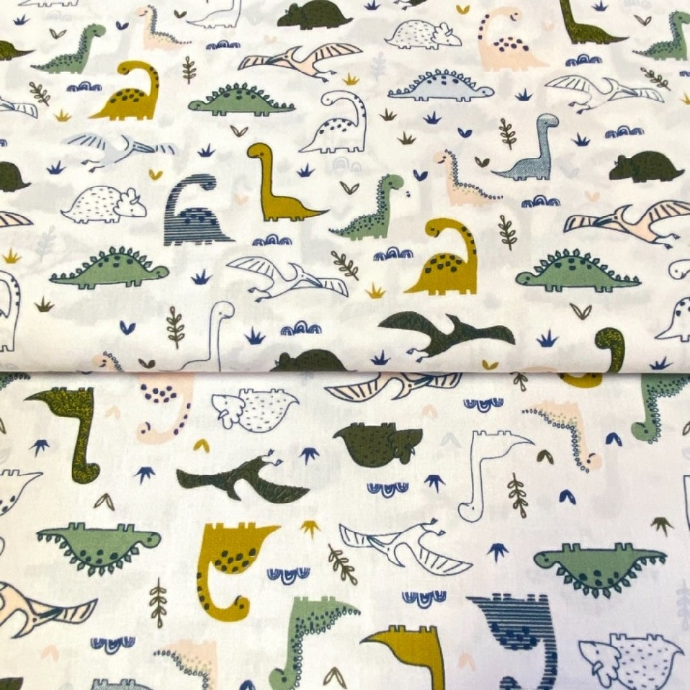 bavlna dinosauři na bílém podkladě 140