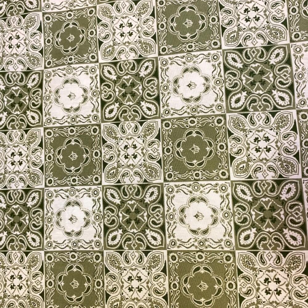 bavlna zelená mozaika 140 cm