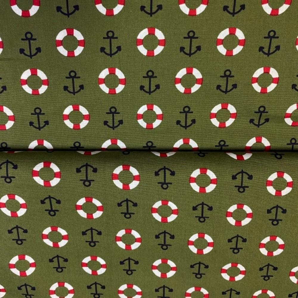 bavlna zelené kotvy 140 cm
