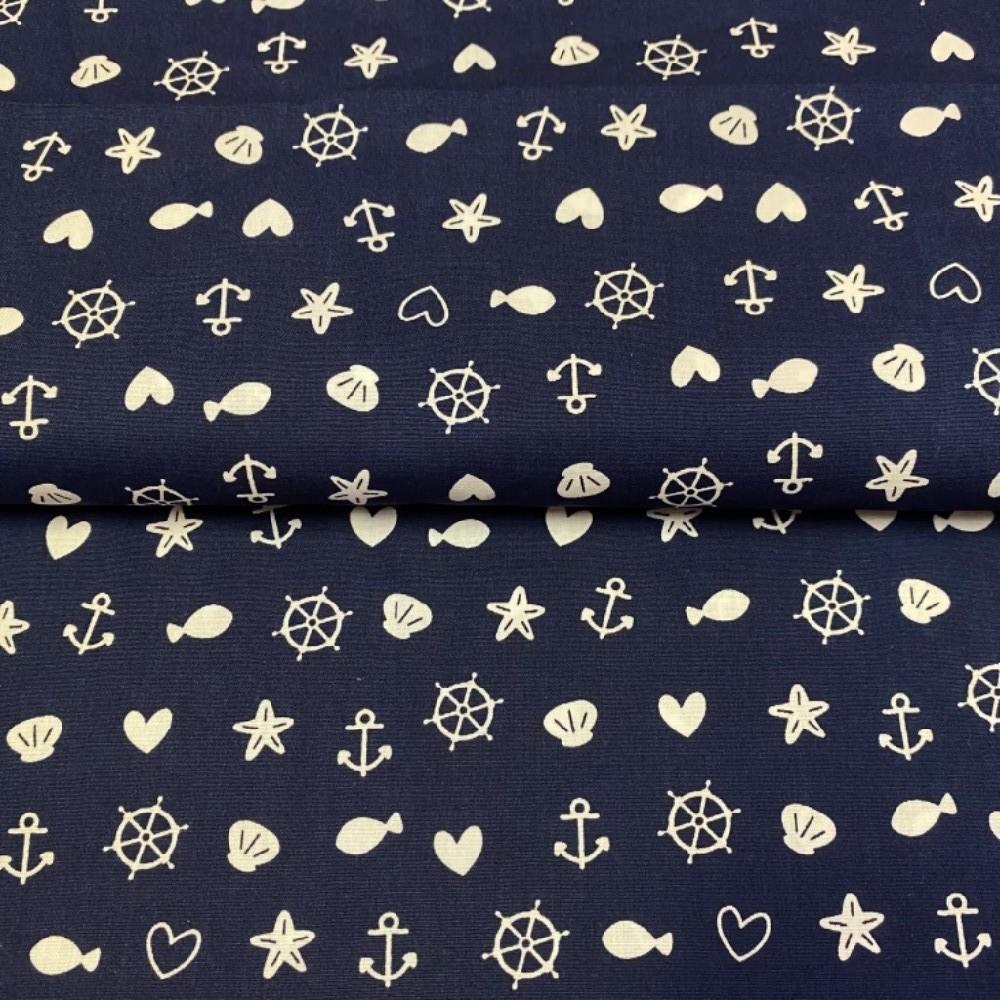 bavlna modrá mořský svět 140 cm