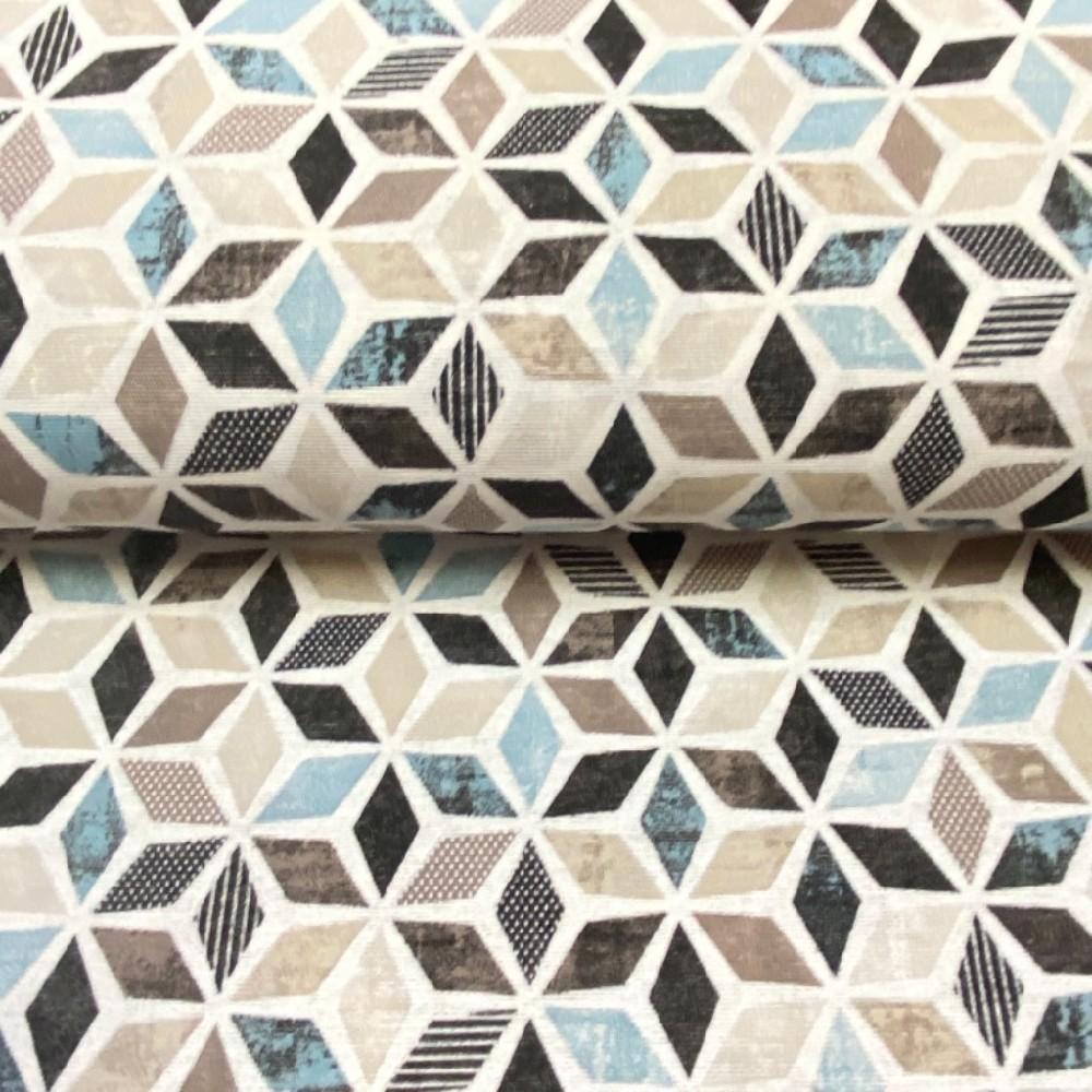 loneta mozaika černo-hnědo tyrkys 140cm