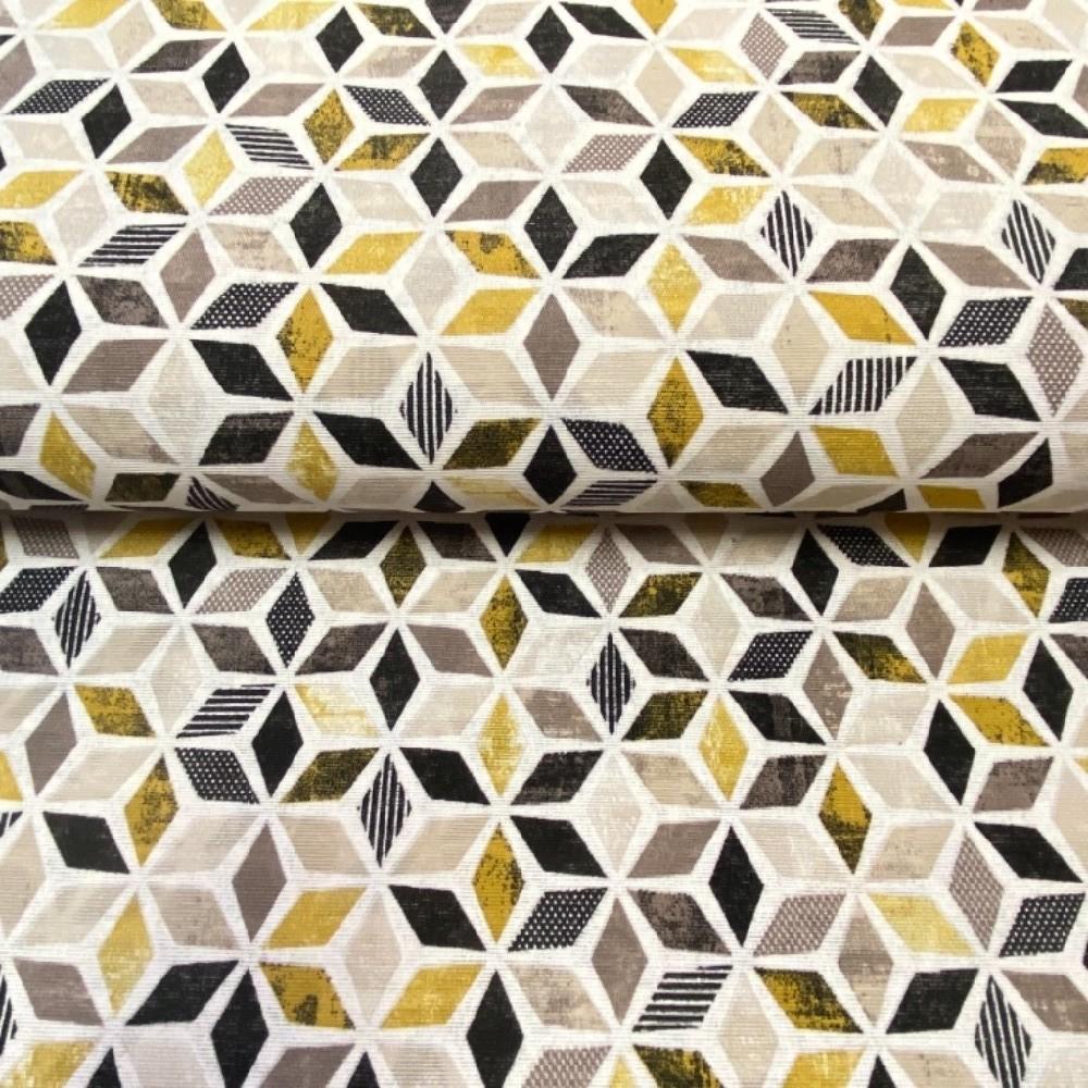 loneta mozaika černo-hnědo hořčicová 140cm