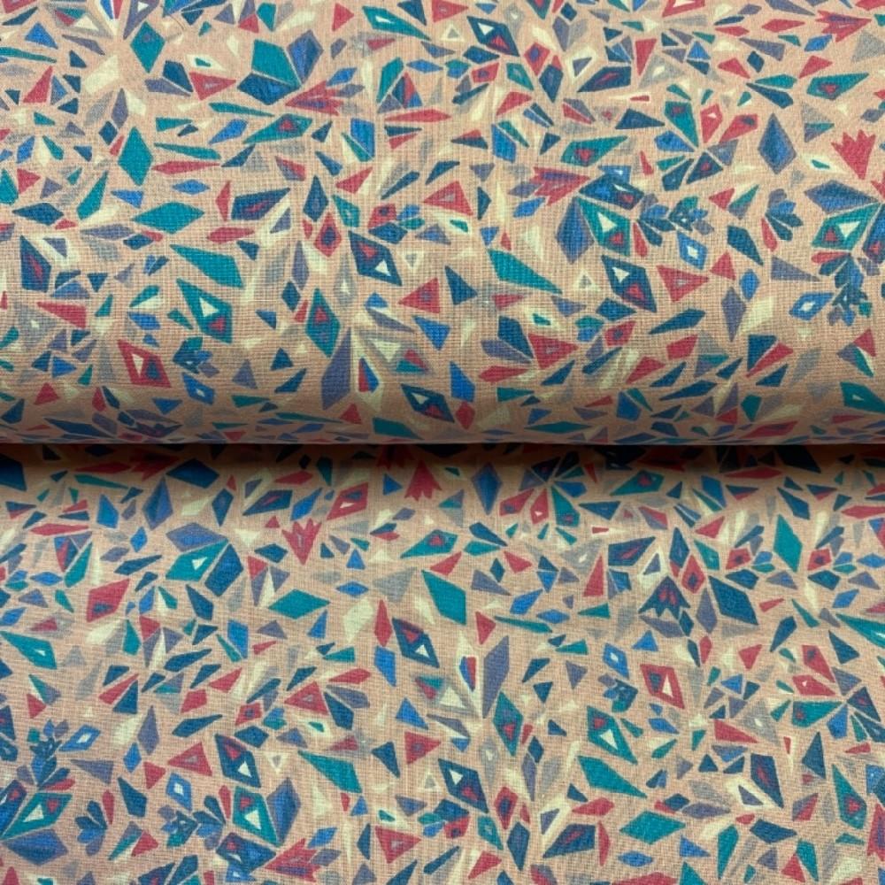 bavlna modro růžov.vzor 145 cm