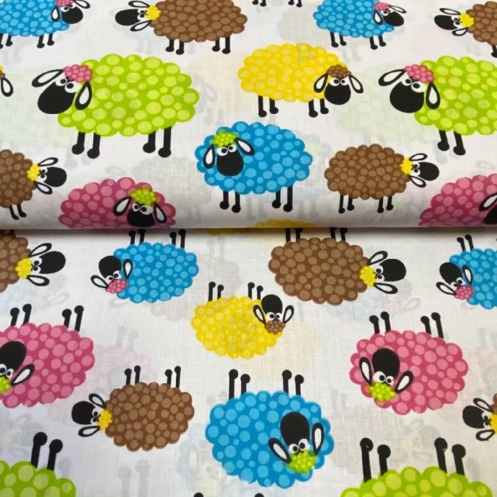 bavlna barevné ovečky  160 cm