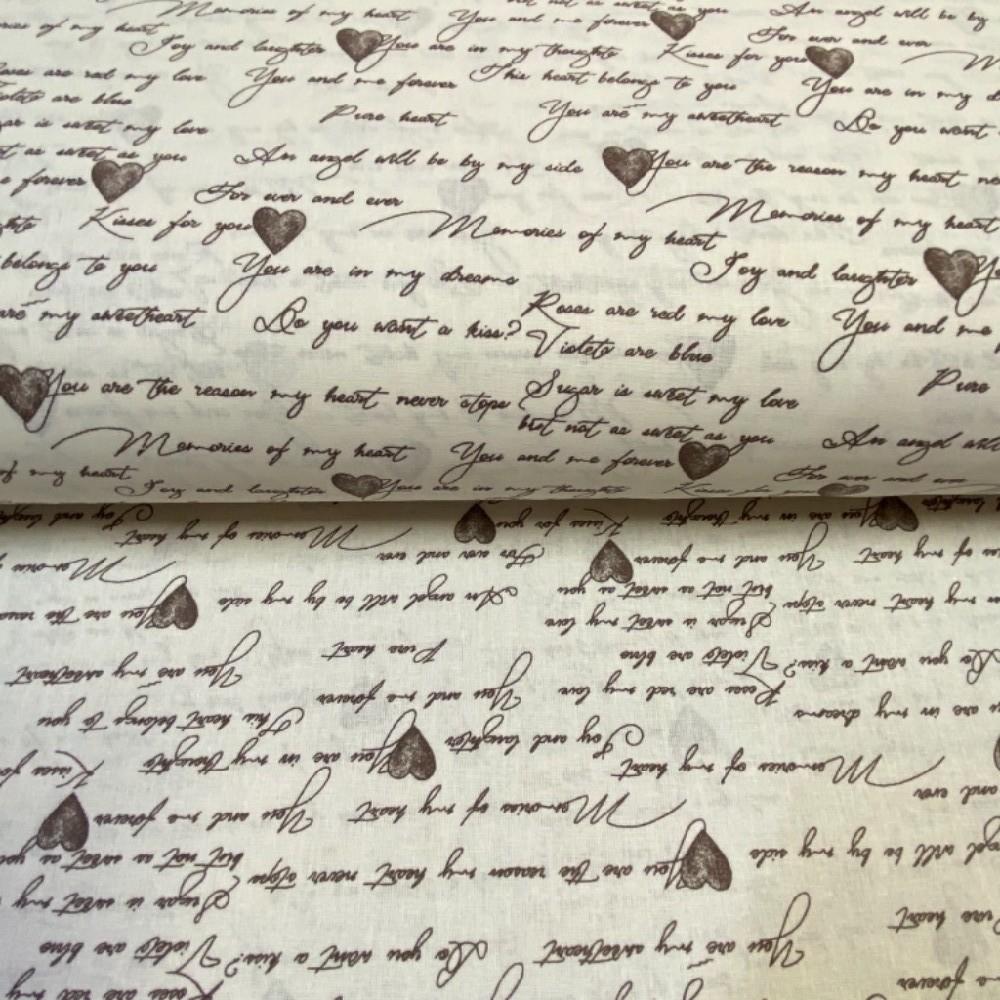 bavlna režná hnědé písmo a srdíčka