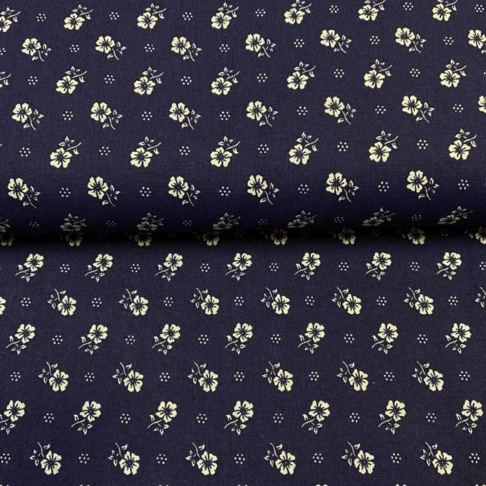 bavlna bílé kytičky na modrém podkladě 140 cm
