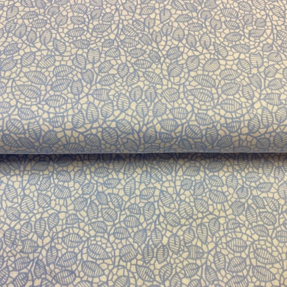 bavlna modré lístečky na bílém podkladě 140 cm