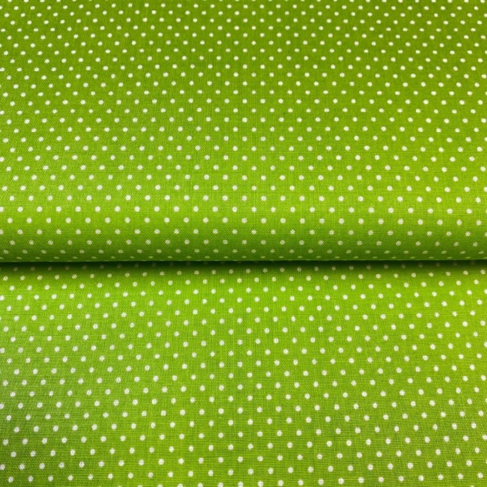 bavlna bílý puntík na zeleném podkladě 140 cm