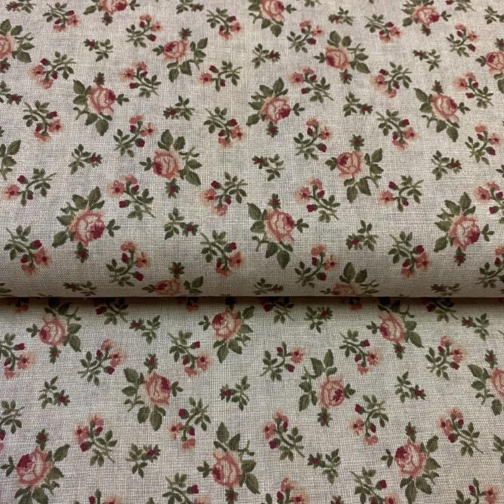 bavlna růžové růže na natur podkladě  140 cm