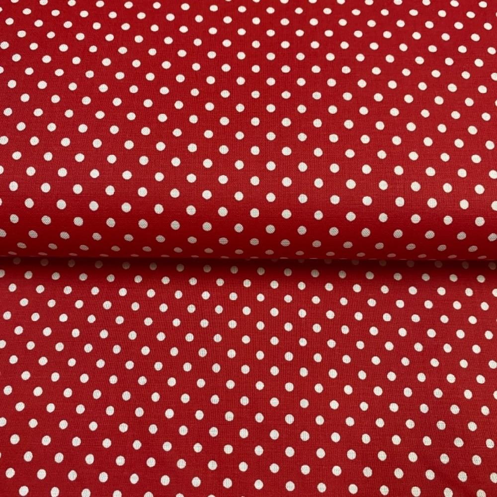 bavlna bílé větší puntíky na červené