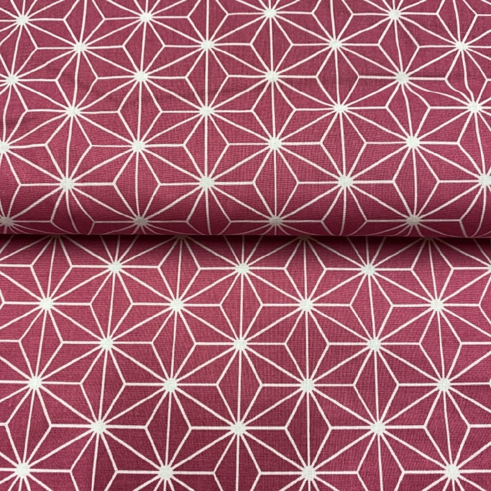 bavlna bílý abstraktní vzor  na bordovém podkladě