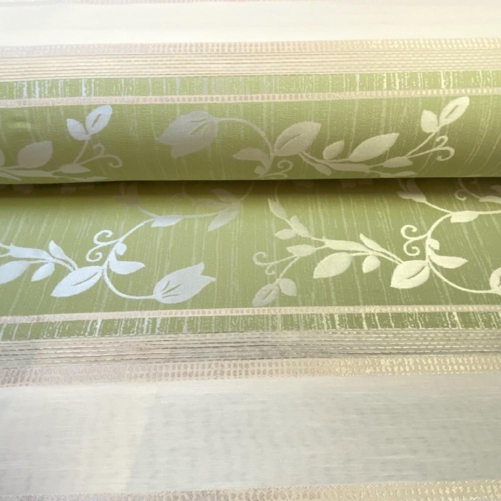 dekoračka Ho krémovo zelené pruhy  vytla.listy 140 m