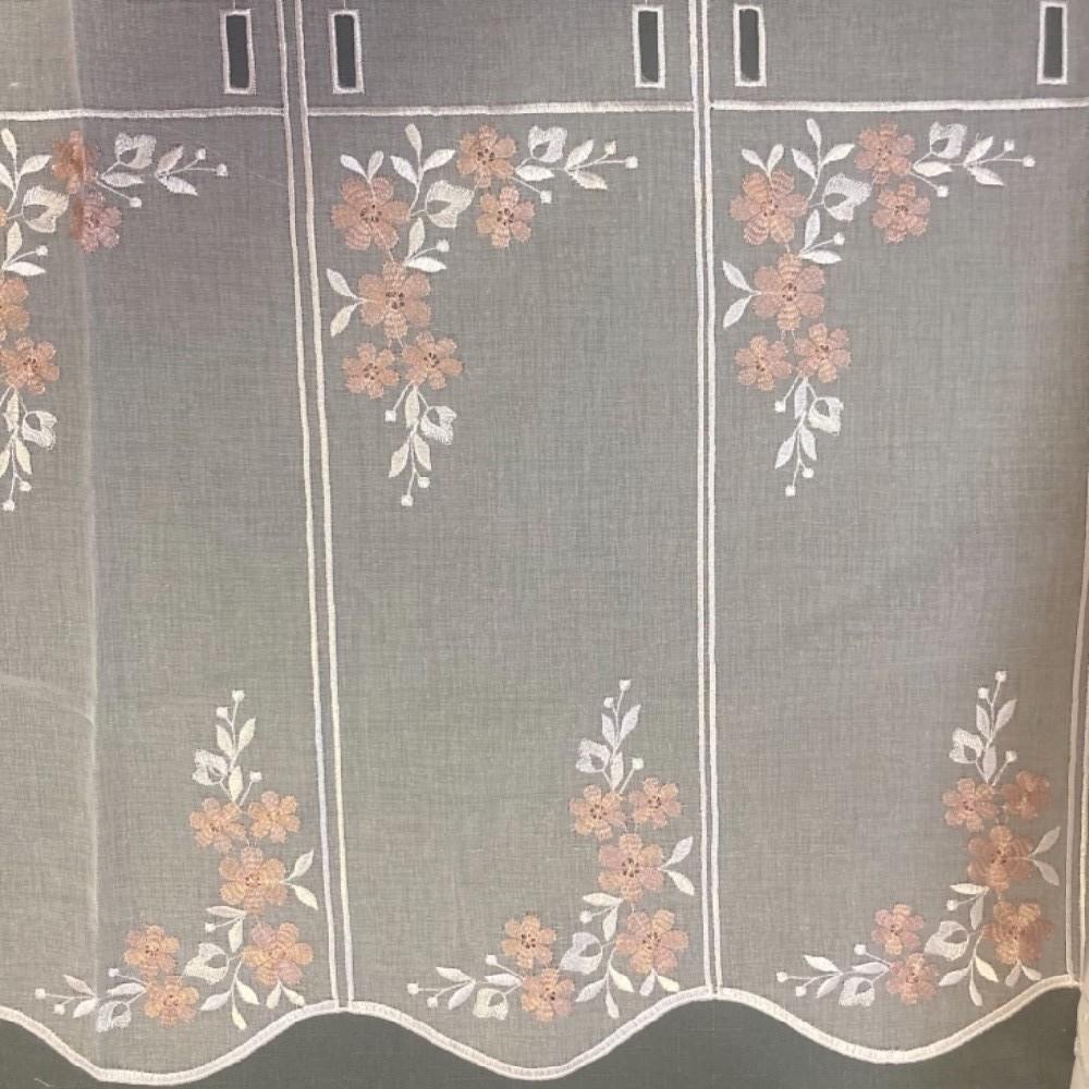 záclona Ve voál vitrážka kytičky v.45cm