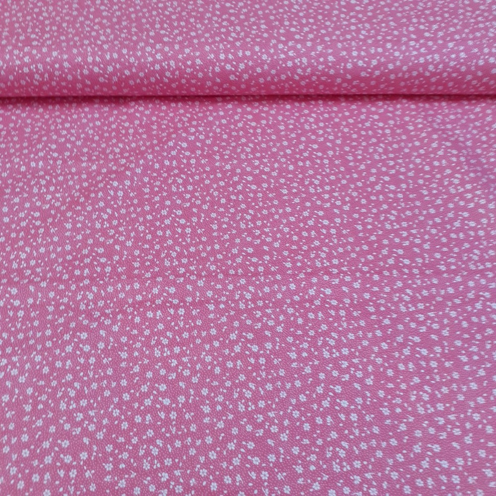 bavlna bílé kytičky na růžovém podkladě 160 cm