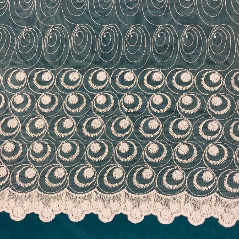 záclona Firanky vyšívaná kruhy,vlnky 160 cm