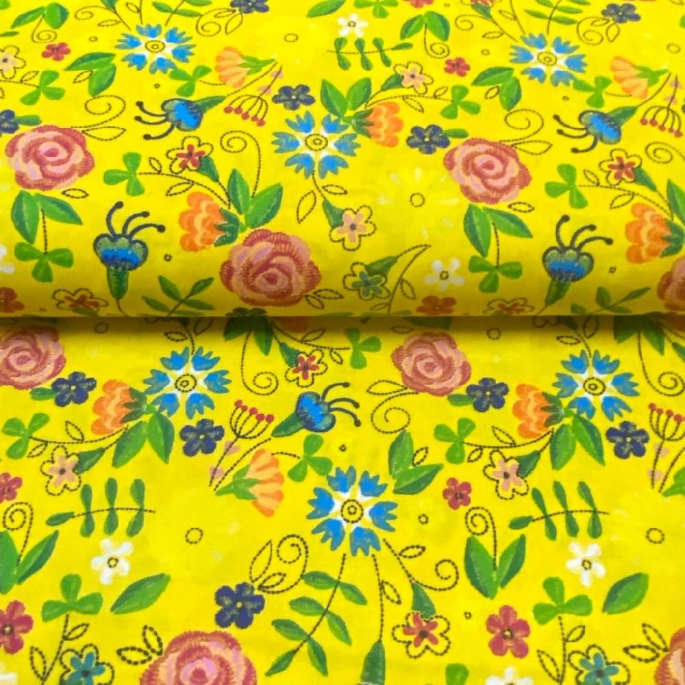 bavlna žlutá květy folklor 160cm
