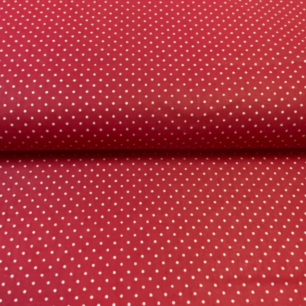 bavlna červená bílý puntík 160cm