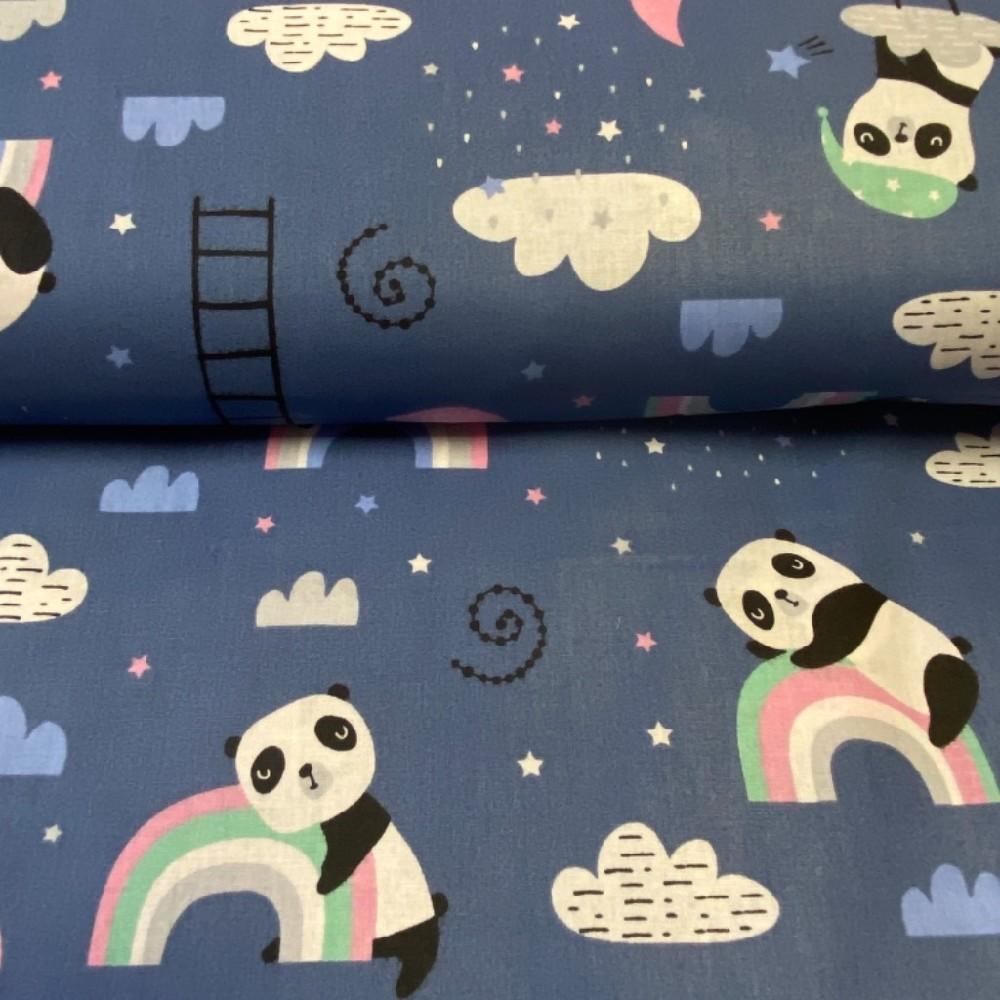 bavlna modrá panda spící 160cm