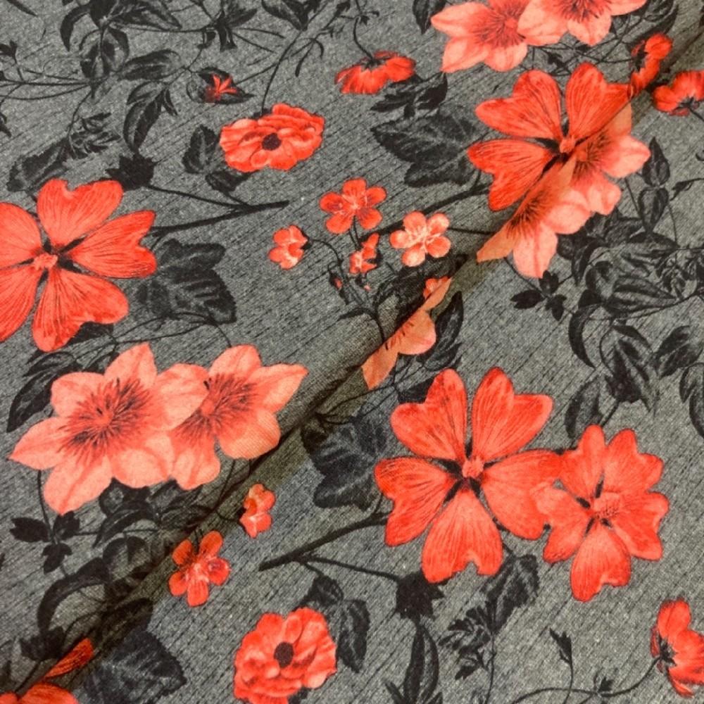 úplet šedý s oranž. květy