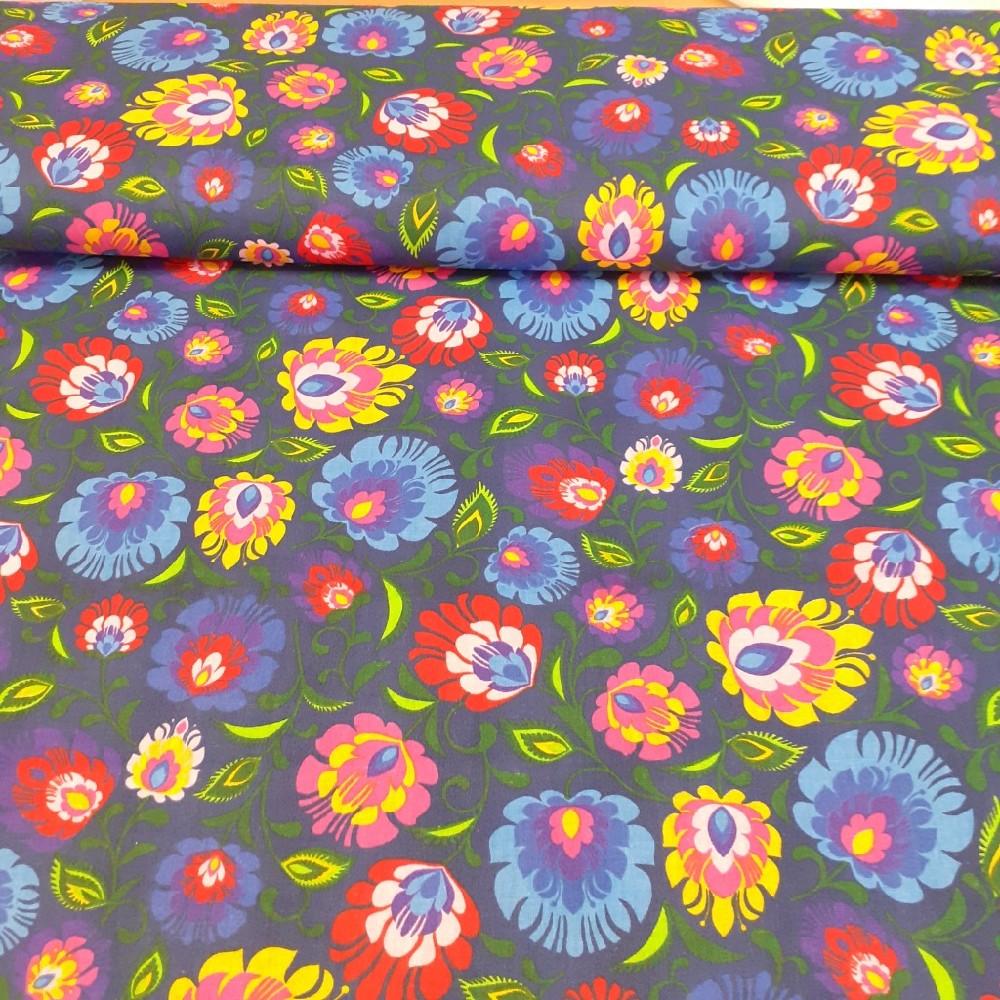 bavlna barevné květy 160 cm