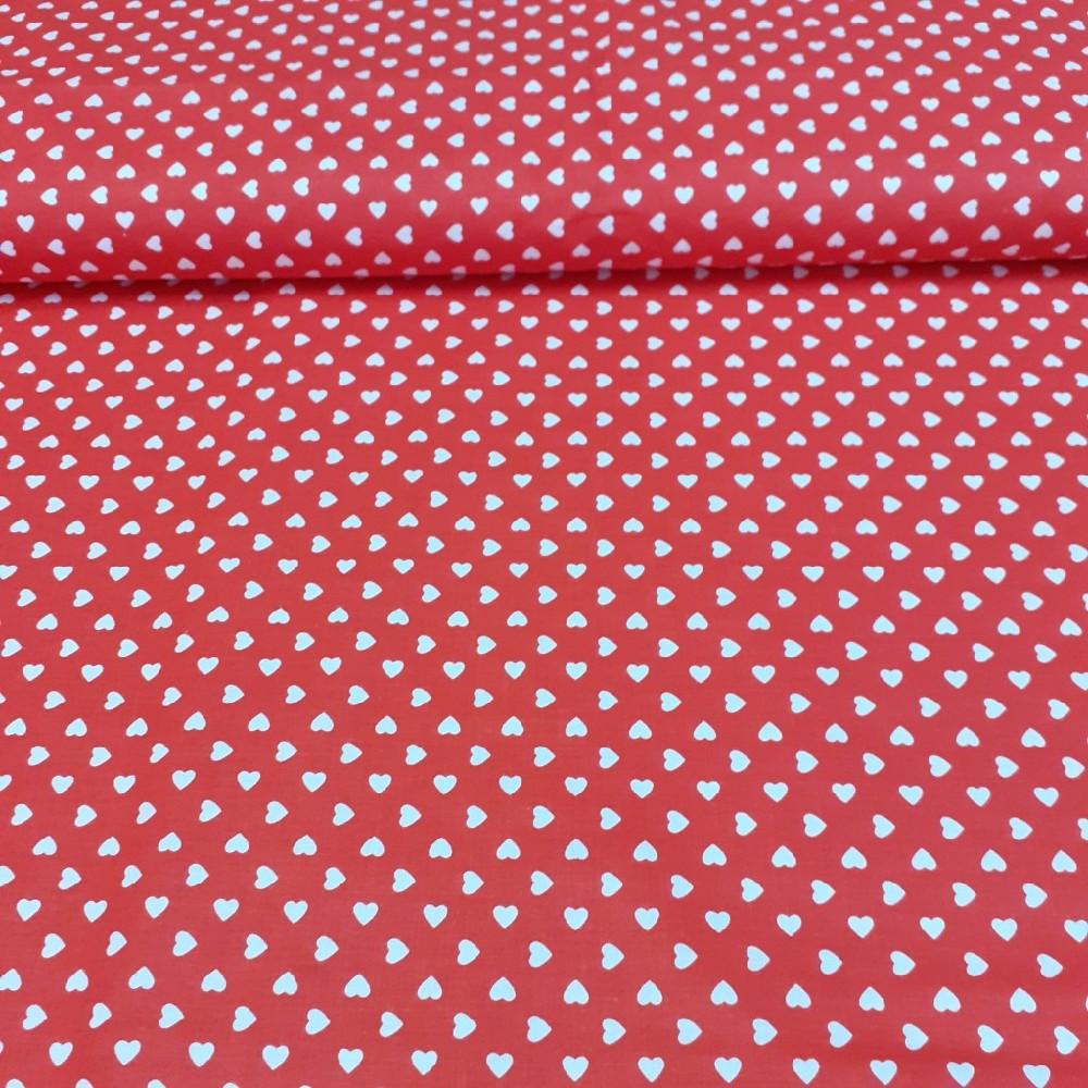 bavlna bílé srdíčka na červeném podkladě 160 cm