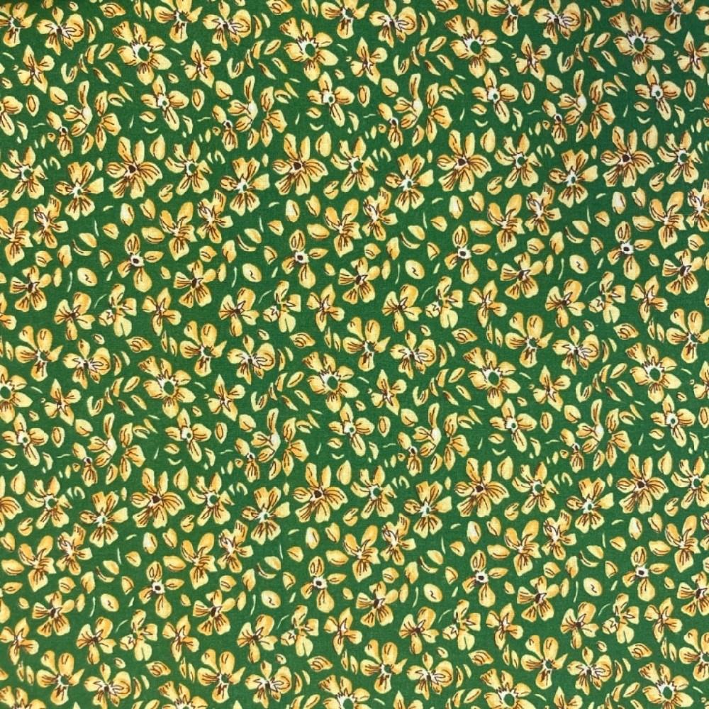 bavlna žluto oran.kytičky na zeleném podkladě 160 cm
