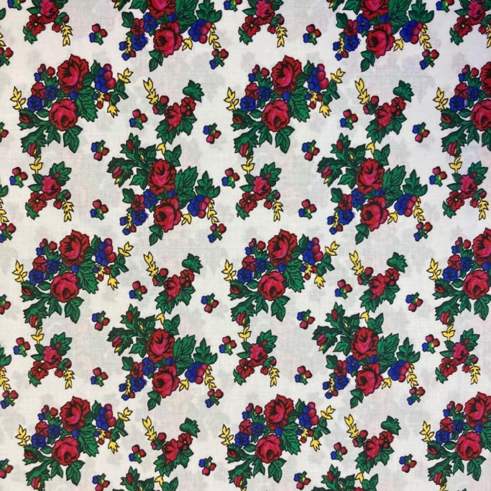 bavlna barevné květy na bílém podkladě 160 cm