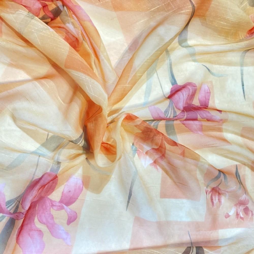 záclona voál 140 š.  lilie oranž
